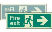 430DSK/R - DOUBLE-SIDED FIRE EXIT SIGN RIGHT OR LEFT 150 x 400mm